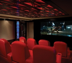 Home Theater Room With Red Leather Seats
