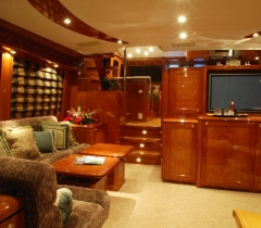 Yacht Living Room Area With Lighting Control and Communication Systems