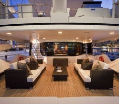 Living Room Area in Your Yacht With Surround Sound Design in Boca Raton