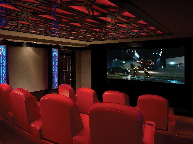 home theatre with red leather seats